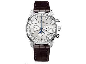 Zenith El Primero 410 Silver Dial Brown Leather Watch 03209141001C494