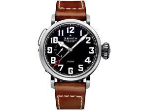 Zenith Elite Pilot Black Dial Leather Strap Mens Watch 03.2430.693/21.C723