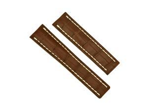 Breitling Brown Crocodile Leather 22 mm - 20 mm Strap with Folding Clasp
