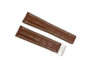 Breitling Brown Crocodile Leather 24 mm - 20 mm Strap with Steel Folding Clasp