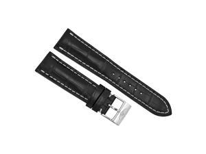 Breitling Black Crocodile Leather 24 mm - 20 mm Strap with Steel Tang Clasp