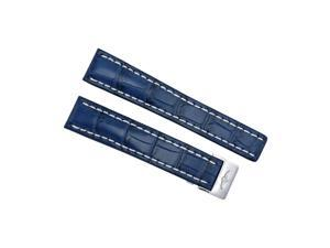 Breitling Blue  Crocodile Leather 20mm - 18mm Strap with Steel Deployment Buckle