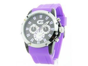 Croton ChronoGraph 3 Eye Sharp Purple Rubber Watch CX328023SSPP