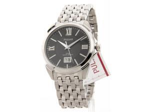 Mens Pulsar Stainless Steel Black Dial Date 5ATM Dress Watch PQ5059