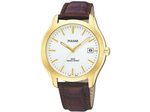 Mens Pulsar Leather White Dial Date 5ATM Casual Watch PXH734