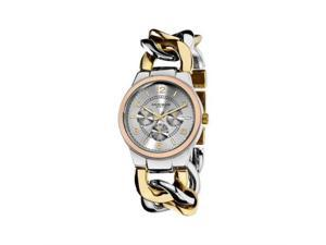 Akribos Women's Multi-Function Tri-Tone Large Chain Band Watch AK531TTR