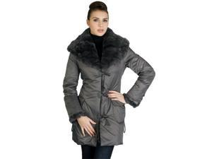 Jessie G. Women's Metallic Jacket with Thinsulate Filling and Rex Rabbit Fur Trim in Brown or Dark Gray