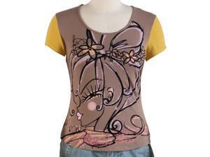Jessie G. Women's Printed Scoop Neck Tee - Brown Large