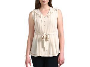 Jessie G. Women's 'Bianca' Pleated Front Chiffon Shirt - Beige 4