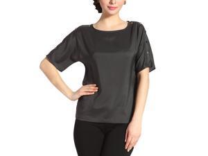 Jessie G. Women's 'Paige' Button Sleeve Shirt - Charcoal 6