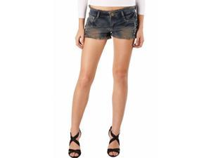 Jessie G. Women's Low Rise Destructed Denim Frayed Short Shorts - 8