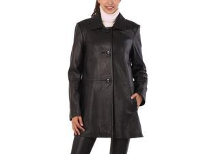 "BGSD Women's ""Hannah""New Zealand Lambskin Leather A-Line Coat"