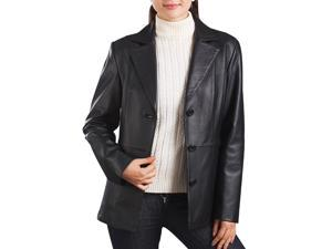 "BGSD Women's ""Crystal"" Three-Button New Zealand Lambskin Leather Blazer"