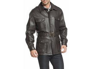"""BGSD Men's """"Charles"""" Military Style Lambskin Leather Trench Coat in Black"""