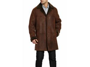 BGSD Men's Himalayan Sheepskin Shearling Long Coat - Distressed Brown M