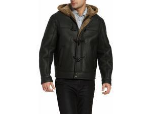 BGSD Men's Hooded Sheepskin Shearling Jacket - Dark Brown XL