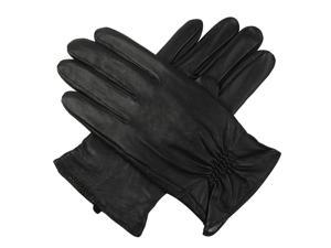 Luxury Lane Men's Cashmere Lined Lambskin Leather Gloves - Black - Size M