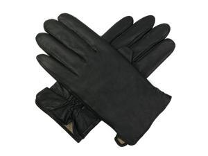 Luxury Lane Men's Cashmere Lined Lambskin Leather Gloves - Black M