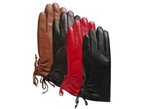 Luxury Lane Women's Lambskin Leather Ruched Tie Gloves - Tobacco L