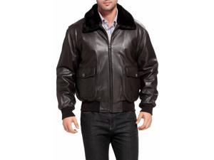 Landing Leathers Navy Men's G-1 Goatskin Leather Flight Bomber Jacket