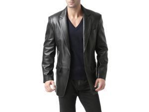"BGSD Men's ""Richard"" Classic Two-Button New Zealand Lambskin Leather Blazer"