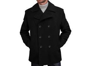 BGSD Men's Classic Wool Blend Pea Coat - Black