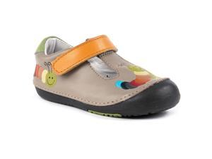 Momo Baby Unisex T-Strap Leather Shoes - Rainbow Caterpillar Tan (First Walker & Toddler)