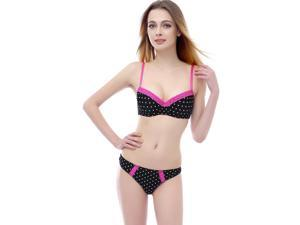 Phistic Women's Polka Dot & Lace Push-Up Bra & Thong 2-Piece Set