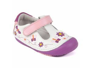 Momo Baby Girls Leather Shoes - Daisy & Butterfly White (First Walker & Toddler)