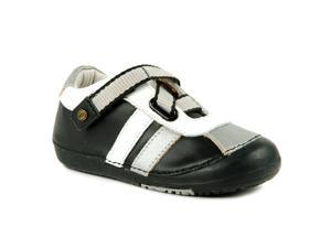 Momo Baby Boys Leather Shoes - Z-Strap Sneaker Black/Silver (First Walker & Toddler)