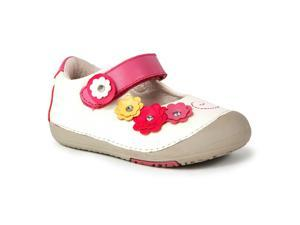 Momo Baby Girls Mary Jane Leather Shoes - Flower Power White (First Walker & Toddler)