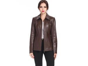 "BGSD Women's ""Ellen"" Zip Front New Zealand Lambskin Leather Jacket"