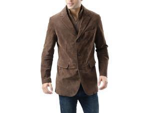 """BGSD Men's """"Brett"""" Three-Button Suede Leather Blazer with Zip-Out Bib"""