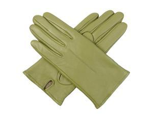 Luxury Lane Women's Cashmere Lined Lambskin Leather Gloves - Green Medium
