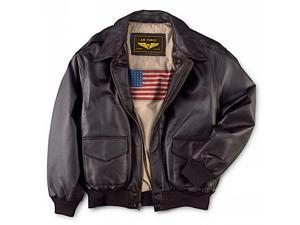 Landing Leathers Men's Air Force A-2 Leather Flight Bomber Jacket - Brown