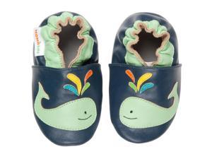 Momo Baby Infant/Toddler Soft Sole Leather Shoes - A Whale of a Time Navy