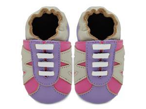 Kimi + Kai Kids Soft Sole Leather Crib Bootie Shoes - Contrast Sneaker