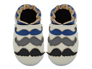 Kimi + Kai Kids Soft Sole Leather Crib Bootie Shoes - Mustache Galore