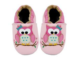 Kimi + Kai Kids Soft Sole Leather Crib Bootie Shoes - Hoot Hoot Owl