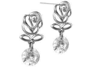 Elegant Rose Bud Cubic Zirconia Drop Earrings