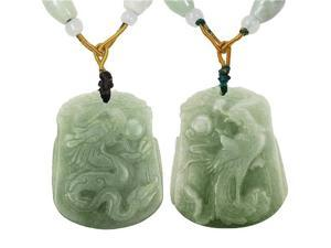 Natural Grade A Jadeite Jade Hand Carved Dragon and Phoenix Pendant Necklace Couples Set