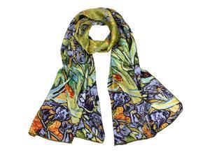 "Van Gogh's ""Irises"" 100% Satin Charmeuse Silk Scarf"