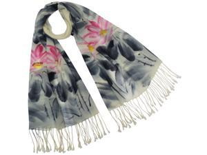 Dahlia Women's Wool Blend Scarf - Hand Painted Lotus Flower - Pink