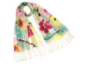 Dahlia Women's 100% Merino Wool Pashmina Scarf - Poppy Flower - White