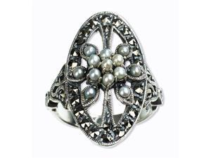 Oval Shield Silver Natural Seed Pearl Ring (size 5)