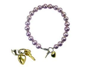 """Key to My Heart Silver Charm Cultured Pearl Baby Bracelet 5"""", Lavender"""