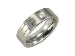 Stainless Steel Cubic Zirconia and Cross 6mm Band Ring - Men (Size 8)