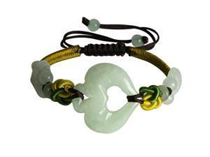 Multi Colored Adorning Jade Heart Adjustable Bracelet