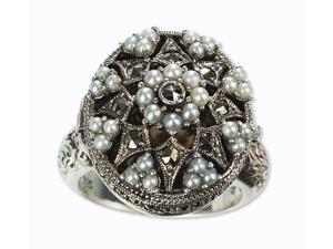 Poison Silver Locket Natural Seed Pearl Ring (Size 9)