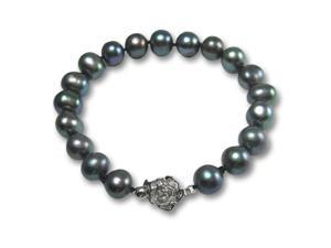 "Enhanced Black 9-10mm AA Cultured Pearl Silver Rose Clasp Bracelet 7"" (L1S3R2)"